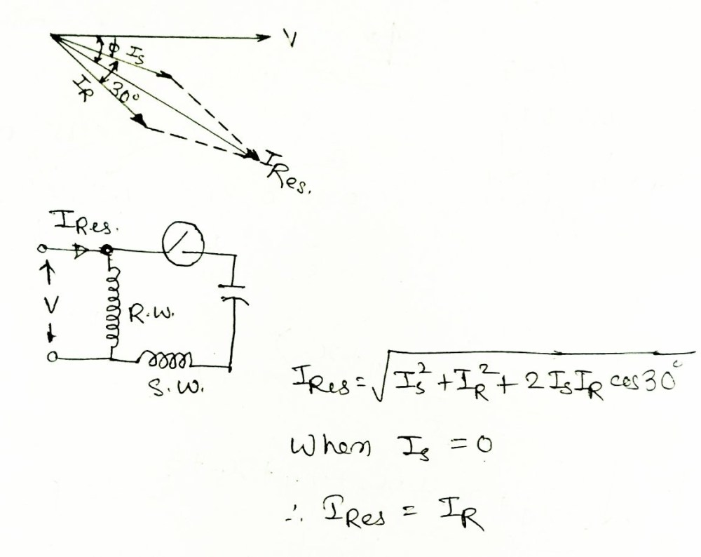 medium resolution of here s shown the phasor and circuit diagram of a single phase induction motor