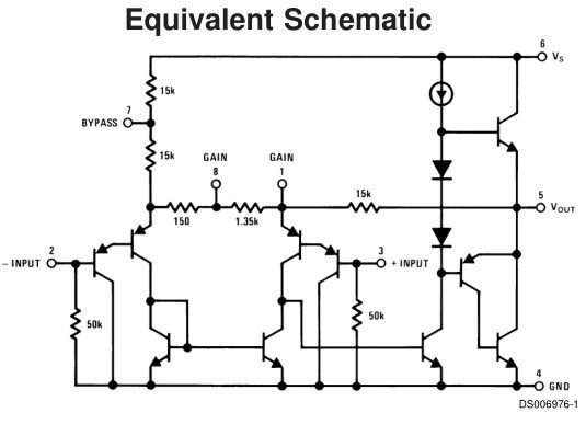 What is the circuit diagram of the LM386 audio amplifier