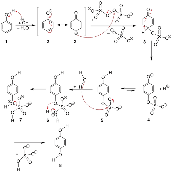 What is elbs persulfate oxidation reaction? Give examples