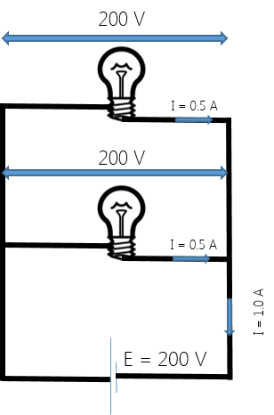 Two 100W, 200V lamps are connected in series across a 200V