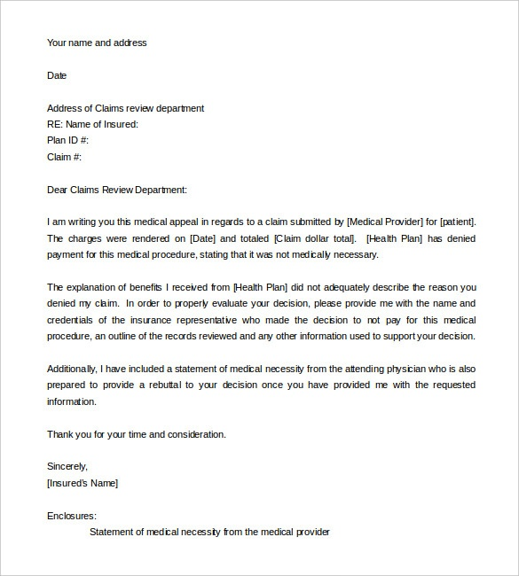 examples of appeal letters