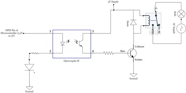 What Is A Circuit Diagram To Switch AC Bulbs Using Relay
