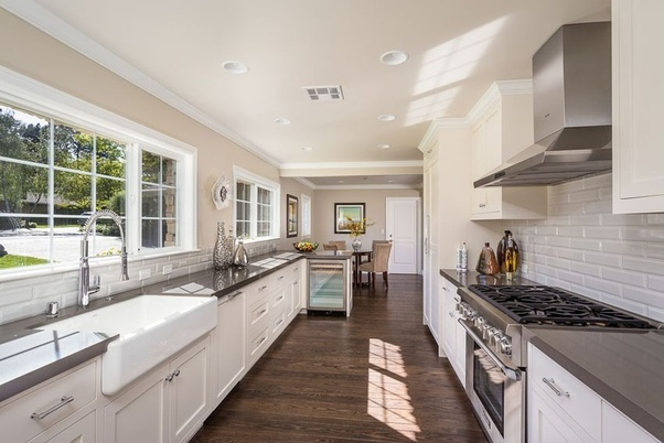 Another idea for a modern kitchen is exposed cabinetry. What are the pros and cons of a galley kitchen? - Quora