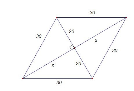 What is the area of a rhombus whose side is 30 cm and one