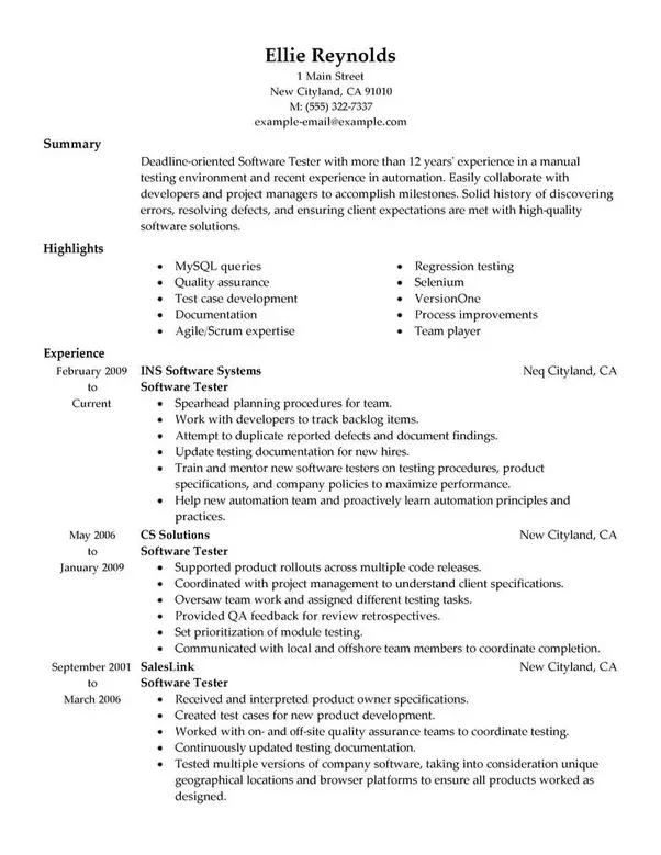 sample resume on selenium with c