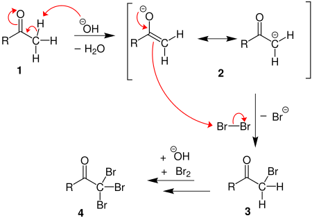 What is the reaction equation when methanal react with