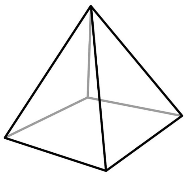 How many faces, vertices, and edges does a square-based