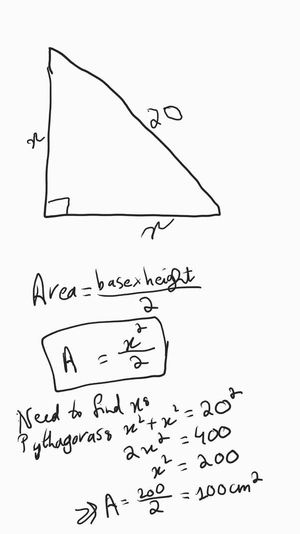 What will be the area of a right-angled triangle if the