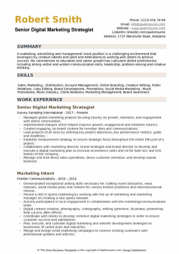 marketing objectives examples in resume