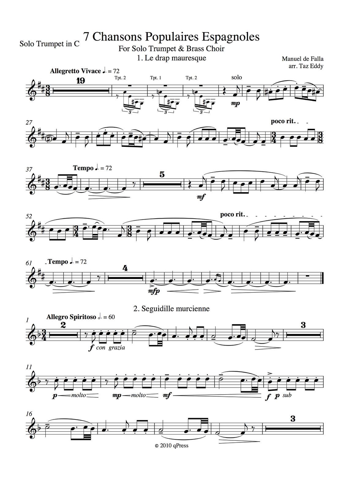 Seven Popular Spanish Songs Brass Band By De Falla