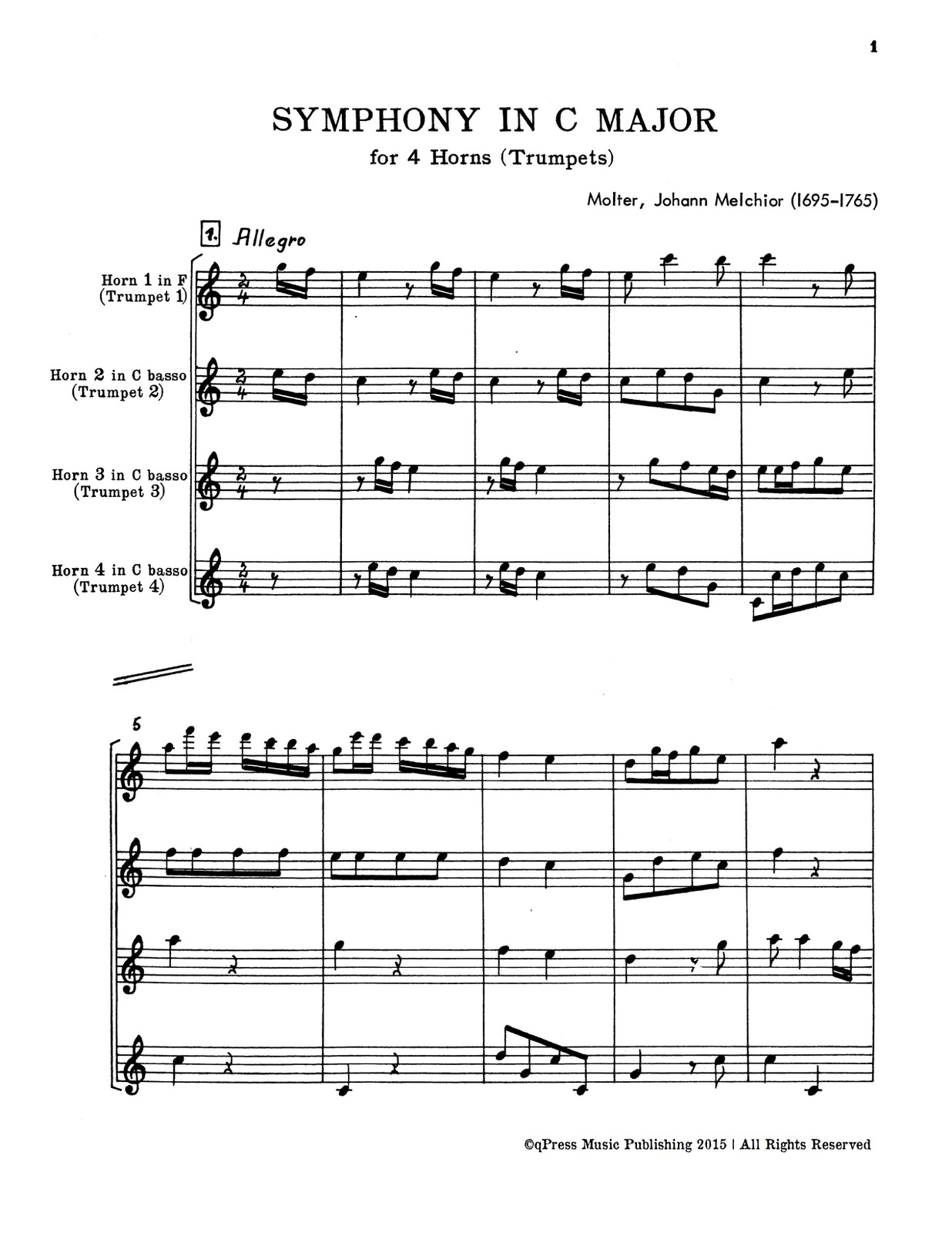 hight resolution of  molter symphony in c for 4 trumpets or horns p19