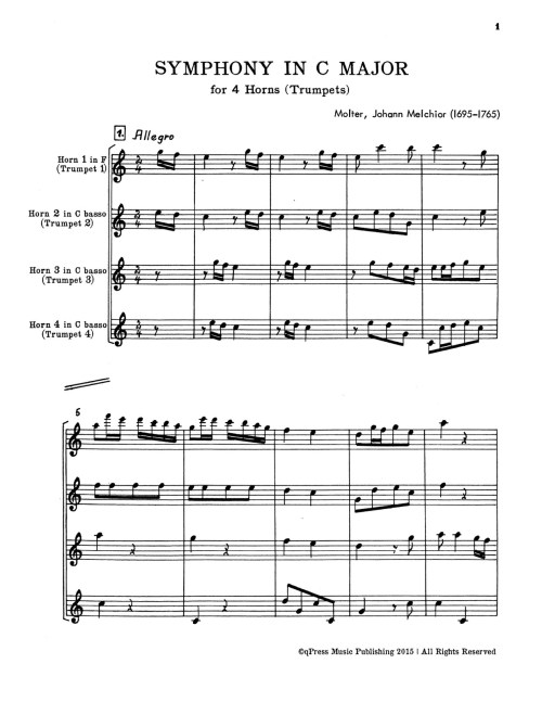 small resolution of  molter symphony in c for 4 trumpets or horns p19