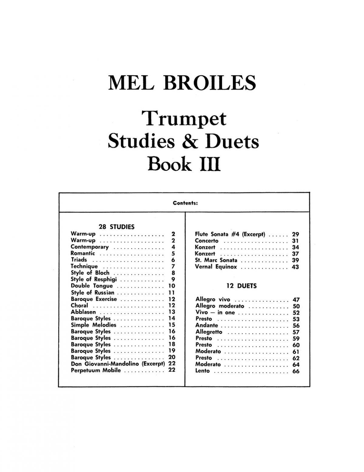 Broiles' Trumpet Studies & Duets Book 3 by Broiles, Mel