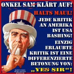 Onkel Sam klaert auf shut up halts maul kein widerspruch USA Amerika Vormacht Arroganz qpress