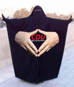 Angela Merkel Raute burka Islam Frauen Zeichen Markenzeichen Anpassung Konvertierung Integration Zuwanderung Anpassung
