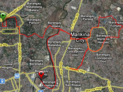 UP - Marikina leg of Botak 100 route (a bit short as my GF405 ran out of batteries again)
