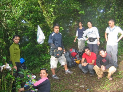 Having breakfast on the summit of Mt. Maculot