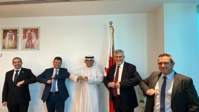 صورة لحظة تاريخية في البحرين  وفد رجال الأعمال الإسرائيلي الرسمي في زيارة إلى البحرين بدعوة من الحكم، بقيادة معهد التصدير، بنك هپوعليم واتحاد الصناعيين وبرعاية السفارة الأمريكية*