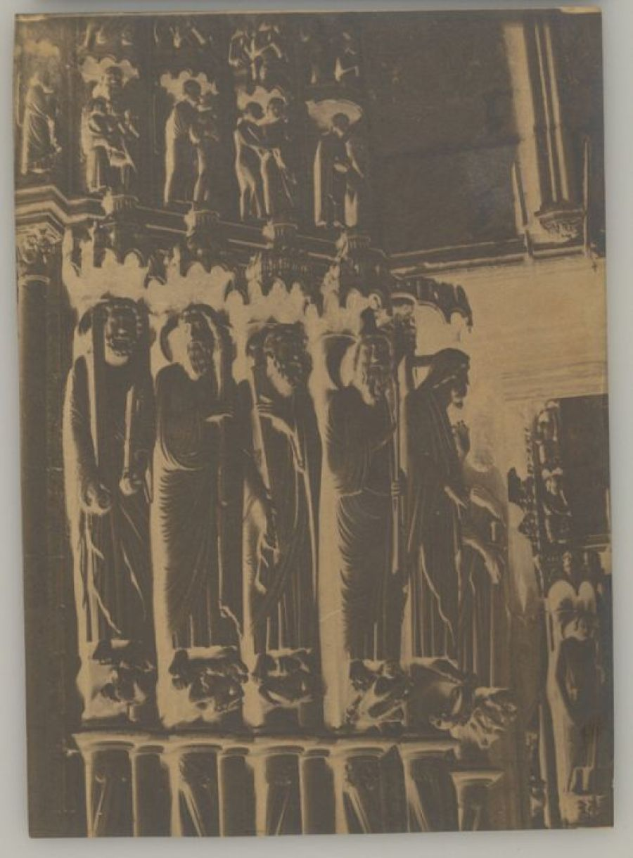 South porch, central portal, left jamb with Saints Matthew, Thomas, Philip, Andrew, and Peter, Chartres Cathedral, 1852, Henri Le Secq. Waxed paper negative, 13 3/8 x 9 7/16 in. The J. Paul Getty Museum, 2015.39.1