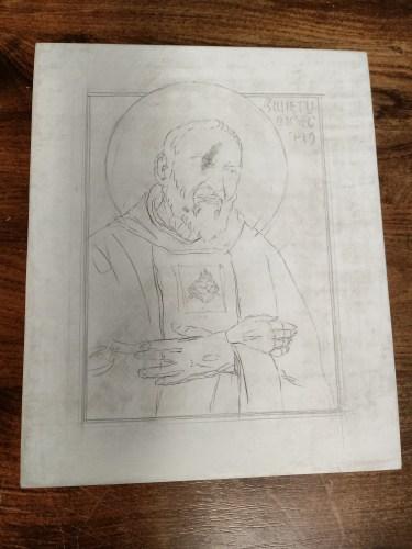 Szkic ikony Ojca Pio