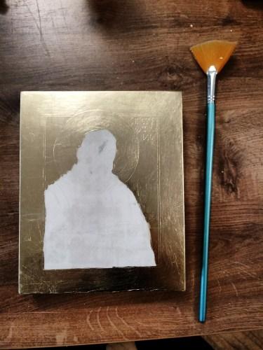 Pozłocona ikona Ojca Pio