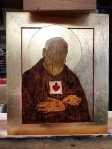 Etapy malowania ikony Ojca Pio - pierwsza warstwa