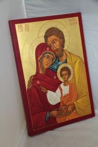 Ikona Świętej Rodziny - rzeźbione aureole złocenia 23i 3/4 karatowym złotem