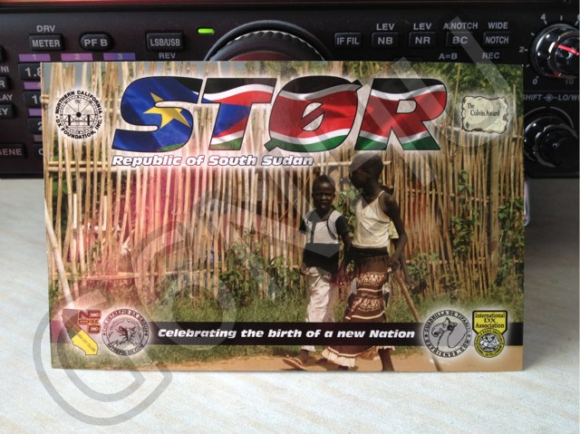Front of QSL card received from ST0R