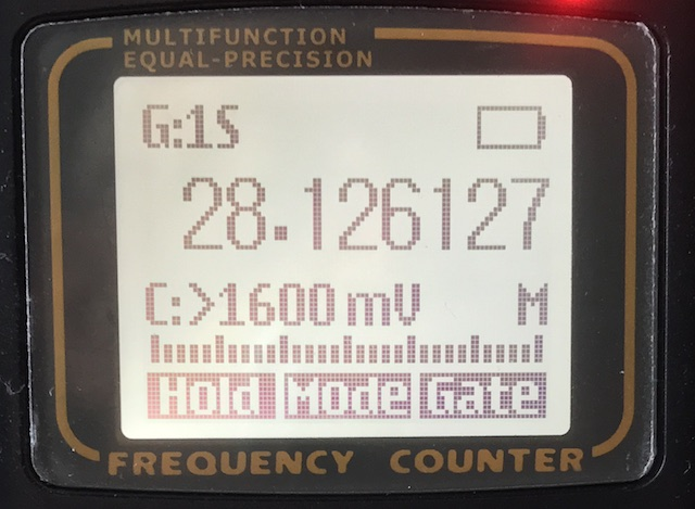 Yaege FC1-Plus in frequency counter mode