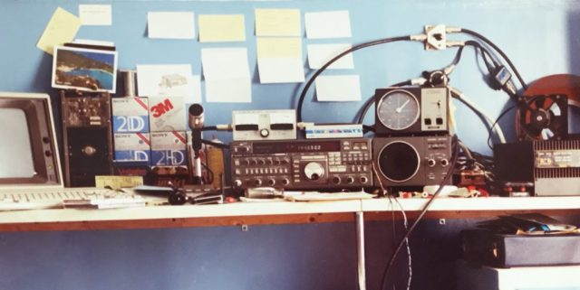 My radio shack in 1991 showing my FT-736R
