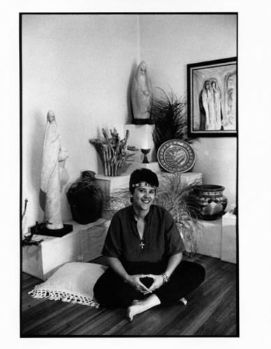 Jeanne Cordova with statues lesbian nun became activist