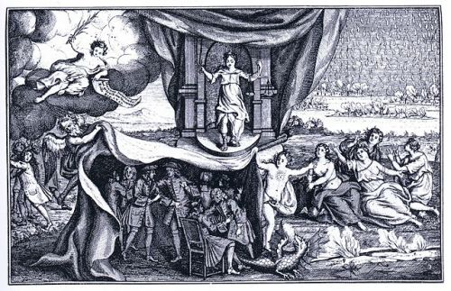Allegories of Truth and Virtue uncover a group of sodomites in an engraving from 1730