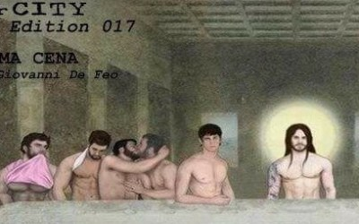 Italian bar creates sexy gay Last Supper poster