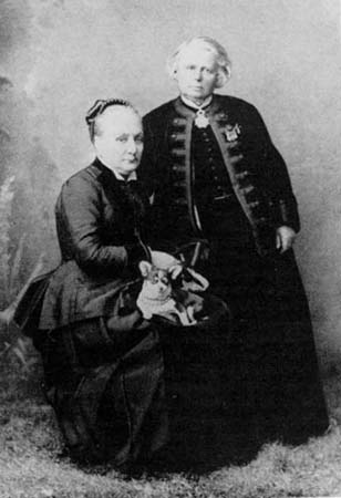 Rosa Bonheur (standing) and her longtime companion Natalie Micas, 1882, in Nice, France