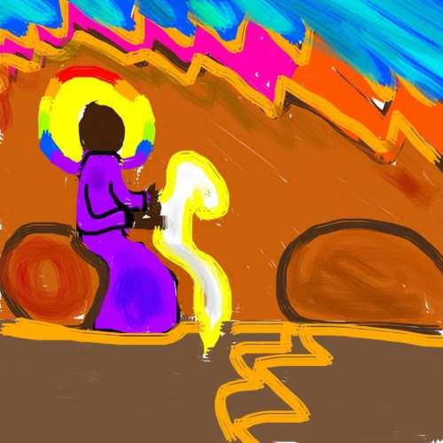ID: a painted image shows Kia, the Ethiopian Eunuch, in a purple robe with a yellow halo lined in rainbow, riding a horse and carriage with a brown road and background hills with some blue sky visible.