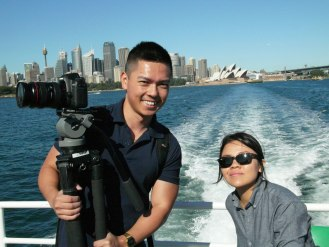 Cameraman King Young (Conceptavision) and Raelene Loong, CISS Staff team on the ferry to the Q Station