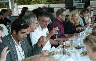 At the table (from left to right) are Parag Khanna, Director of the Hybrid Reality Institute; James Der Derian, CISS Director; Vice Admiral Ray Griggs, RAN; Adam Kamradt-Scott, CISS; Toni Erskine, UNSW-Canberra; Rebecca Adler-Nissen, University of Copenhagen; Megan MacKenzie, CISS