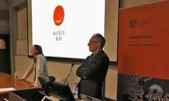 CISS Director James Der Derian moderates as the audience asks questions of McKenzie Wark. Photo: Gilbert Bel-Bachir.