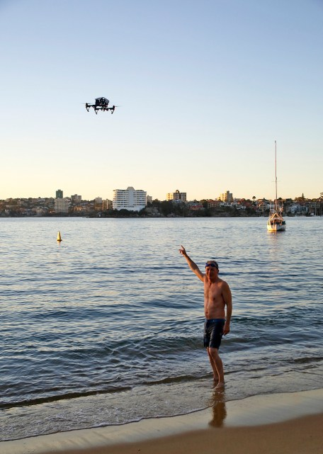 James Der Derian pointing at the ubiquitous Q quadcopter. Photo: Gilbert Bel-Bachir.