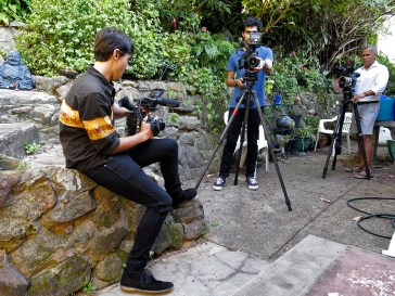 Sam and Jayson testing the video cameras and lenses. Photo: Gilbert Bel-Bachir.