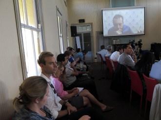 Alexander Wendt listens to the questions onscreen. Photo: Gilbert Bel-Bachir.