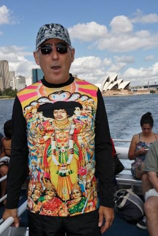 JP (Santos) integrating into the Sydney Harbour landscape. Photo: Gilbert Bel-Bachir.