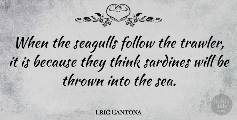 """""""when the seagulls,"""" sip, pause, """"follow the trawler,"""" pause, hint of a smile, """"it's because they think,"""" pause, """"sardines, will be thrown into. Eric Cantona When The Seagulls Follow The Trawler It Is Because They Quotetab"""