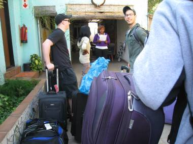 Checking into Lebo's Soweto Backpackers