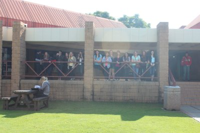 Students hanging out at the student center at the University of Pretoria.