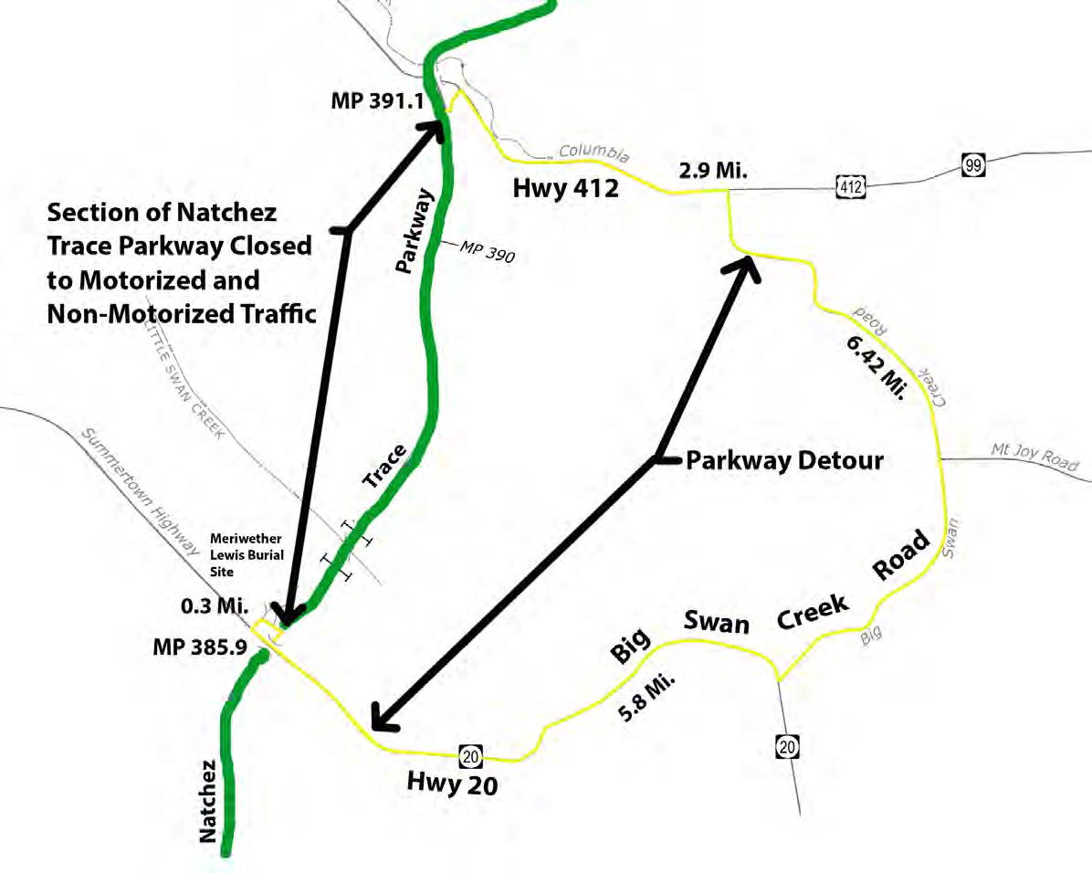 Natchez Trace Parkway To Implement Detour In Lewis County Tennessee