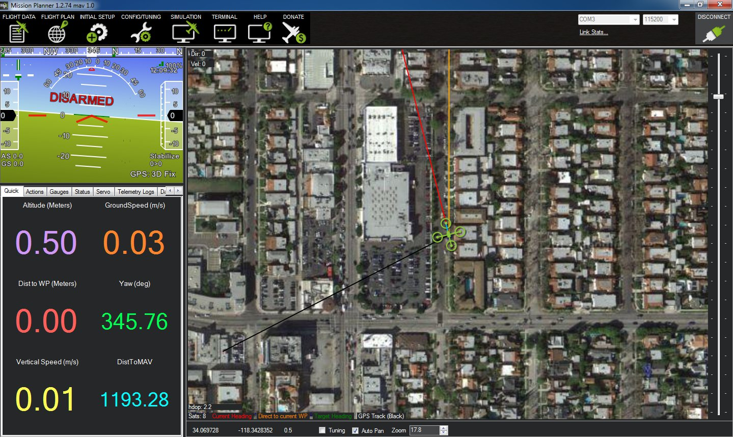 hight resolution of mission planner connected to arduflyer