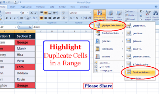 How to Highlight Cells with Duplicate Values in a Range