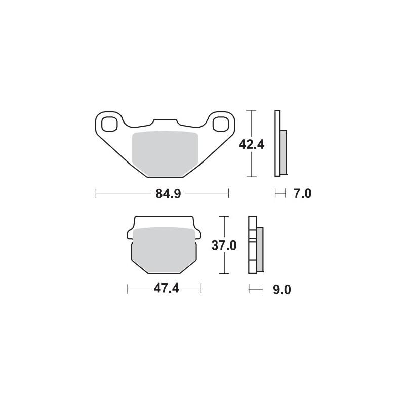 Remblokken TGB 325/425/500/525/550 Target vooraan.