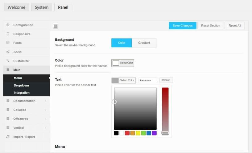 QuadMenu Review- Colours